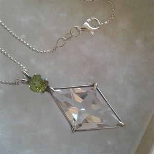 Faceted Quartz Necklace, Sterling Silver w. Chain